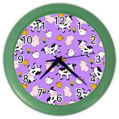 The Farm Pattern Color Wall Clocks by Valentinaart