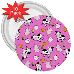 The Farm Pattern 3  Buttons (10 Pack)  by Valentinaart