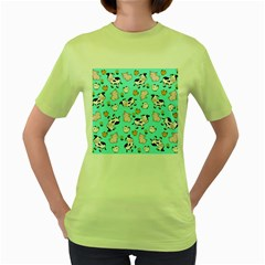The Farm Pattern Women s Green T Shirt