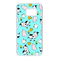 The Farm Pattern Samsung Galaxy S7 White Seamless Case by Valentinaart