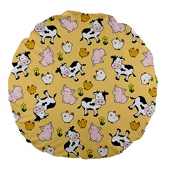The Farm Pattern Large 18  Premium Flano Round Cushions by Valentinaart