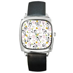 The Farm Pattern Square Metal Watch by Valentinaart