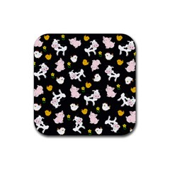 The Farm Pattern Rubber Square Coaster (4 Pack)  by Valentinaart