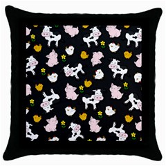 The Farm Pattern Throw Pillow Case (black) by Valentinaart
