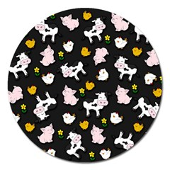 The Farm Pattern Magnet 5  (round) by Valentinaart