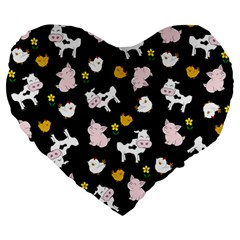 The Farm Pattern Large 19  Premium Heart Shape Cushions by Valentinaart