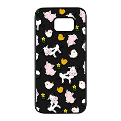 The Farm Pattern Samsung Galaxy S7 Edge Black Seamless Case by Valentinaart
