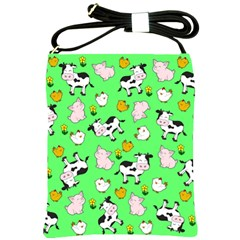 The Farm Pattern Shoulder Sling Bags by Valentinaart