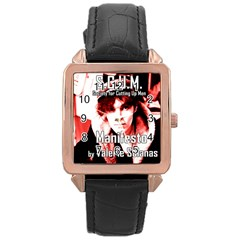 Valerie Solanas Rose Gold Leather Watch  by Valentinaart