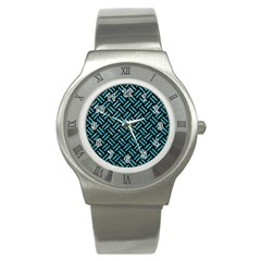 Woven2 Black Marble & Turquoise Glitter (r) Stainless Steel Watch by trendistuff