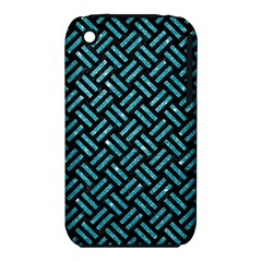 Woven2 Black Marble & Turquoise Glitter (r) Iphone 3s/3gs