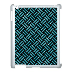 Woven2 Black Marble & Turquoise Glitter (r) Apple Ipad 3/4 Case (white) by trendistuff