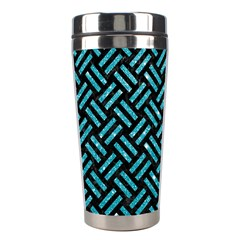 Woven2 Black Marble & Turquoise Glitter (r) Stainless Steel Travel Tumblers by trendistuff
