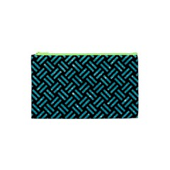 Woven2 Black Marble & Turquoise Glitter (r) Cosmetic Bag (xs) by trendistuff
