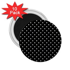 Black Polka Dots 2 25  Magnets (10 Pack)  by jumpercat