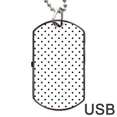White Polka Dots Dog Tag Usb Flash (two Sides) by jumpercat