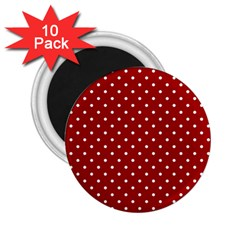 Red Polka Dots 2 25  Magnets (10 Pack)