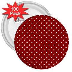 Red Polka Dots 3  Buttons (100 Pack)  by jumpercat