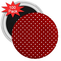 Red Polka Dots 3  Magnets (100 Pack)