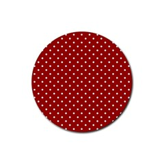 Red Polka Dots Rubber Round Coaster (4 Pack)  by jumpercat