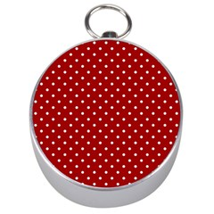 Red Polka Dots Silver Compasses by jumpercat