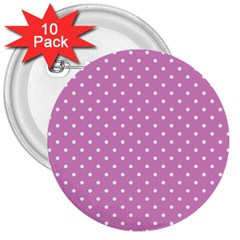Pink Polka Dots 3  Buttons (10 Pack)  by jumpercat