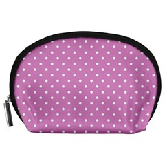 Pink Polka Dots Accessory Pouches (large)