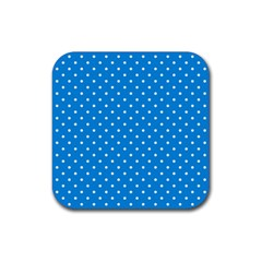Blue Polka Dots Rubber Square Coaster (4 Pack)  by jumpercat