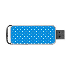 Blue Polka Dots Portable Usb Flash (one Side)