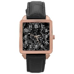 Dark Leaves Rose Gold Leather Watch  by jumpercat