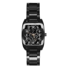 Dark Leaves Stainless Steel Barrel Watch