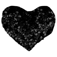 Dark Leaves Large 19  Premium Flano Heart Shape Cushions by jumpercat