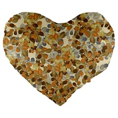 Leaves Autumm Large 19  Premium Flano Heart Shape Cushions by jumpercat