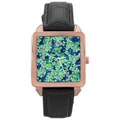 Moonlight On The Leaves Rose Gold Leather Watch  by jumpercat