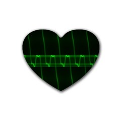 Background Signal Light Glow Green Heart Coaster (4 Pack)  by Nexatart