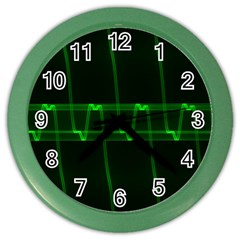 Background Signal Light Glow Green Color Wall Clocks