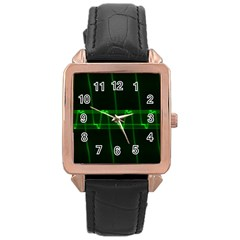 Background Signal Light Glow Green Rose Gold Leather Watch  by Nexatart