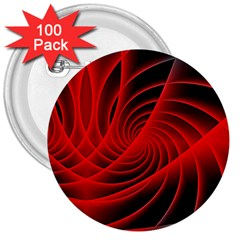 Red Abstract Art Background Digital 3  Buttons (100 Pack)
