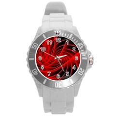 Red Abstract Art Background Digital Round Plastic Sport Watch (l) by Nexatart