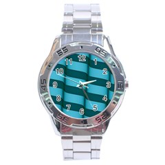 Curtain Stripped Blue Creative Stainless Steel Analogue Watch