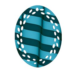 Curtain Stripped Blue Creative Ornament (oval Filigree)