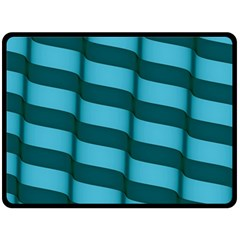 Curtain Stripped Blue Creative Double Sided Fleece Blanket (large)  by Nexatart