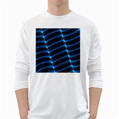 Background Neon Light Glow Blue White Long Sleeve T Shirts