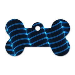 Background Neon Light Glow Blue Dog Tag Bone (two Sides)