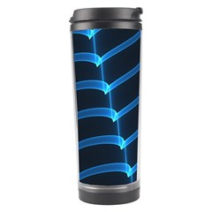 Background Neon Light Glow Blue Travel Tumbler by Nexatart