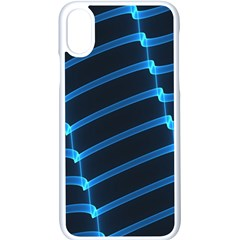 Background Neon Light Glow Blue Apple Iphone X Seamless Case (white)