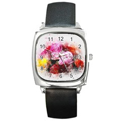 Flowers Roses Wedding Bouquet Art Square Metal Watch
