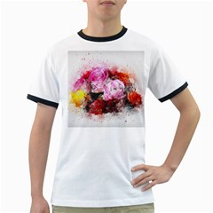 Flowers Roses Wedding Bouquet Art Ringer T Shirts