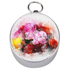 Flowers Roses Wedding Bouquet Art Silver Compasses by Nexatart