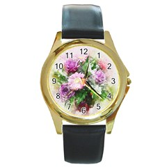 Flowers Roses Bouquet Art Nature Round Gold Metal Watch by Nexatart